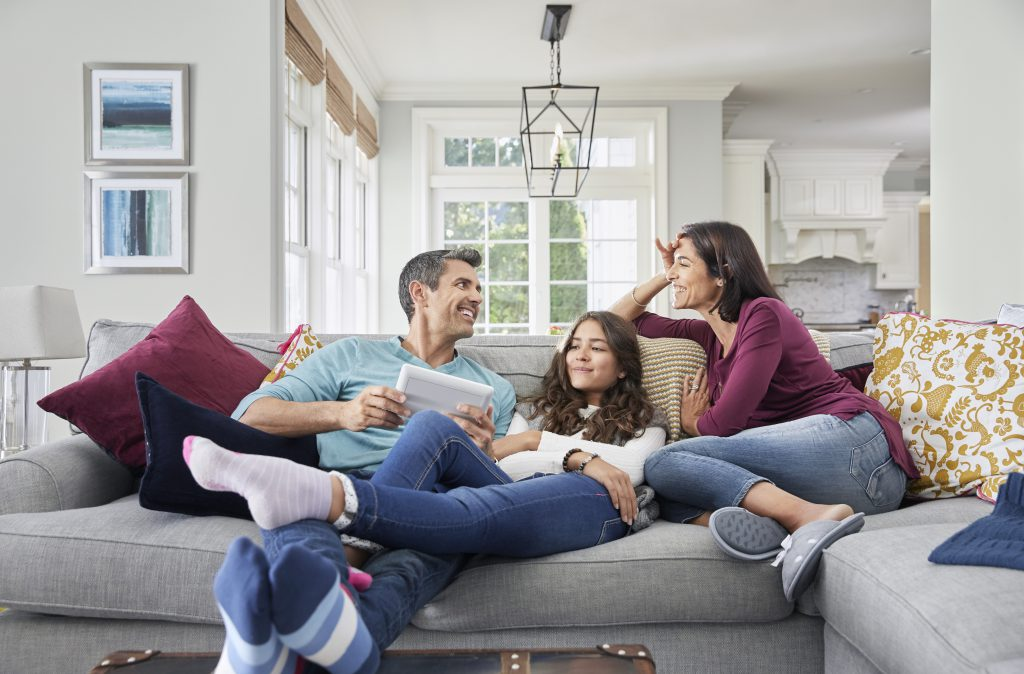 resideo proseries family on couch